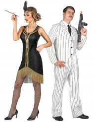Disfarce de casal gangster branco e charleston preto e dourado adultos