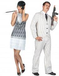 Disfarce de casal gangster branco e charleston branco adulto