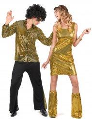 Disfarce de casal disco lantejoulas douradas adulto