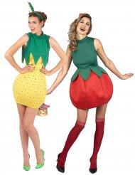 Disfarce de casal fruta ananás e morango Mulheres