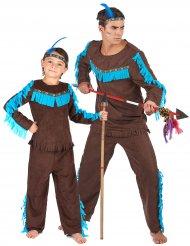 Disfarce de casal índios castanho pai e filho