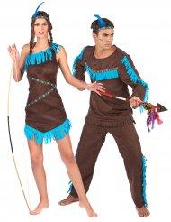 Disfarce de casal índio e índia adulto