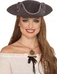 Chapéu de pirata cinzento adulto