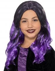 Peruca longa preta e violeta criança