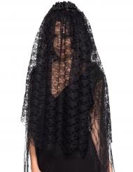 Véu comprida viúva negra adulto