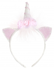 Bandolete Unicórnio branca e cor-de-rosa com flores menina