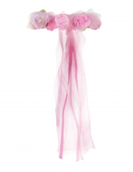 Coroa de Princesa em flores cor-de-rosa menina