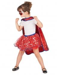 Disfarce super-heroina vermelha e azul menina