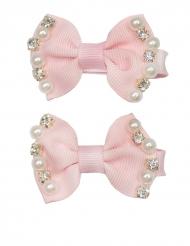 2 Travessões laço cor-de-rosa com pérolas menina