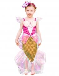 Disfarce sereia cor-de-rosa e dourada com bandolete menina