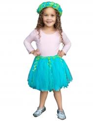 Tutu de sereia azul e verde com coroa menina