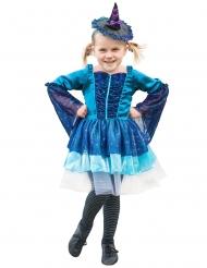 Disfarce de bruxa azul menina