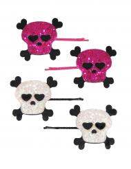 Travessões caveira cor-de-rosa e branca menina
