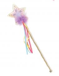 Varinha brilhante arco-íris e dourada menina