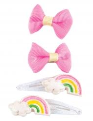4 Travessões laços cor-de-rosa e arco-íris menina