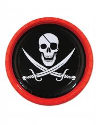 8 Pratos de cartão Pirata caveira 23 cm