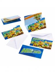 8 Convites com envelopes tartarugas Ninja™