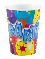 8 Copos de cartão Party balões coloridos 250 ml