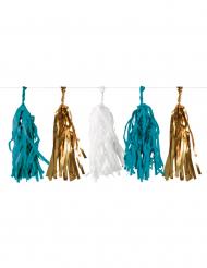 Grinalda de tassels azul, branco e dourado 3 m