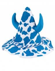 Chapéu branco e azul com chifres