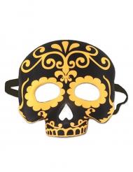 Meia máscara caveira preta e amarela
