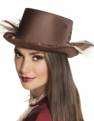 Chapéu alto castanho com véus Steampunk adulto