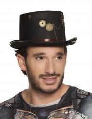 Chapéu alto preto steampunk com engrenagens adulto