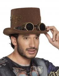 Chapéu alto castanho engrenagens e óculos Steampunk adulto