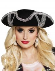 Chapéu de pirata contornos prateados adulto