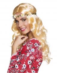 Peruca comprida loira com bandelete de flores mulher