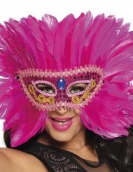 Mascarilha veneziana com penas rosa mulher