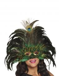 Mascarilha pavão veneziana com penas adulto