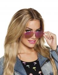 Óculos aviador contorno cor-de-rosa adulto