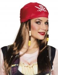 Peruca e bandana vermelha pirata mulher