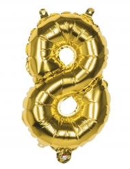 Balão alumínio número 8 dourado
