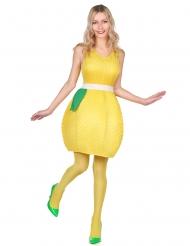 Disfarce vestido limão amarelo mulher