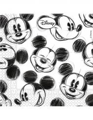 25 Guardanapos de papel Mickey™ retro preto e branco