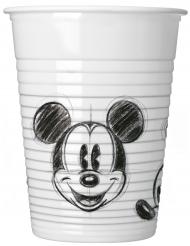 8 Copos de plástico Mickey™ retro preto e branco