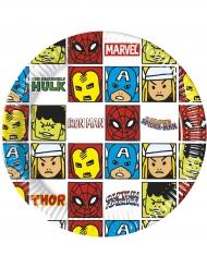 8 Pratos de cartão Avengers™ pop comic 20 cm