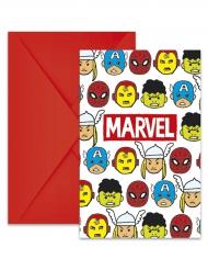 6 Convites com envelopes Avengers™ pop comic 14 x 9 cm - Os Vingadores™
