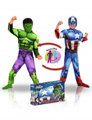 Disfarce luxo reversível Captain America™ e Hulk™ menino - Coffret