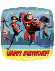 Balão quadrado alumínio Happy Birthday The Incredibles- Os Super-Heróis™
