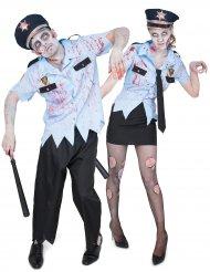 Disfarce de casal polícias zombie Halloween