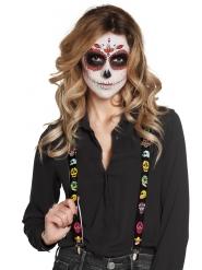 Suspensórios pretos com caveiras mexicanas adulto Dia de los muertos