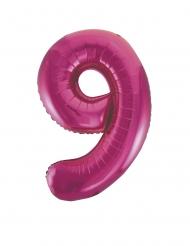 Balão alumínio número 9 fúcsia 63 x 86 cm