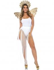 Kit asas e auréola anjo dourado adulto