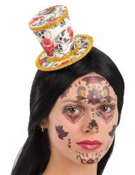 Mini chapéu alto cartola Dia dos Mortos