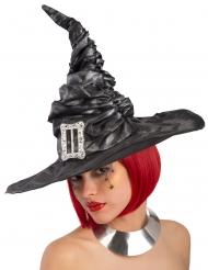 Chapéu preto com fivela bruxa mulher