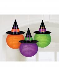 3 Lanternas de papel com chapéu de bruxa Family Friendly