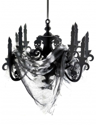 Candeeiro preto em cartão casa assombrada 41 x 58 cm
